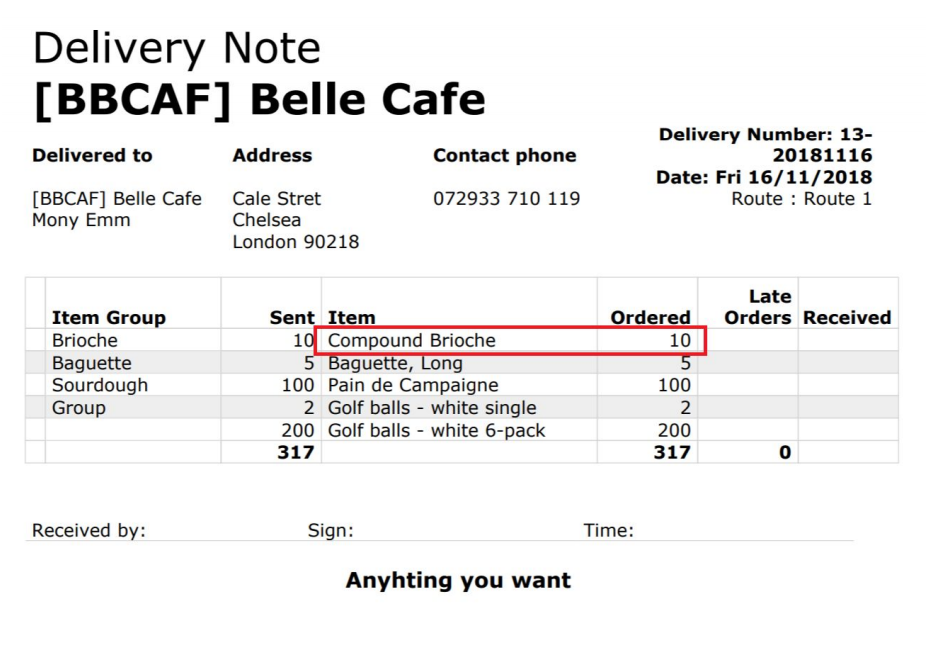 Delivery notes